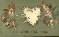 Cupids Flowers Heart Gold Embossing c1910 Valentine Postcard