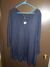 NWT - Lane Bryant - Sweater - 22 / 24 - Navy Blue - Pleated Back - V Neck
