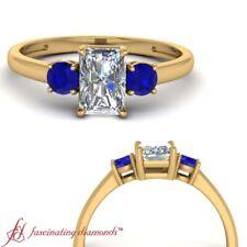 3/4 Carat Radiant Cut Diamond & Sapphire 3 Stone Wedding Ring In 18K Yellow Gold