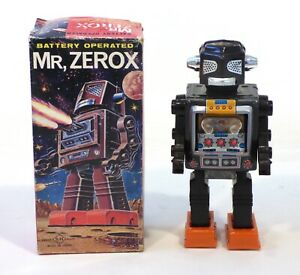 "1960s Tin Japan Original Space ""MR. ZEROX"" ROBOT EXC in Box Works!!!"
