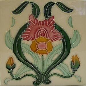 9934023 Jugendstil-Fliese Kachel Keramik neu 15,2x15,2cm