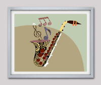 Art Saxophone Print Wall Music Notes Abstract Painting Wall Home Decor Poster