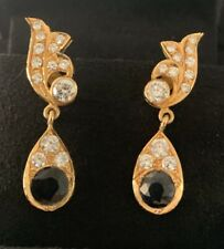 22ct gold diamond and sapphire Drop Earings