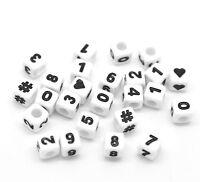 New: 300 Weiß Acryl Zahlen & Symbol Würfel Perlen Beads Spacer 7x7mm