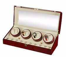 New High Quality Diplomat Redwood 8 Watch Automatic Winder Box w/ Storage for 9