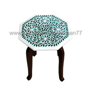 Malachite Octagonal Side Table White Marble Inlay Polka Design Table Top