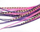 Feather Hair Extension Pink & Purple Remix 6-12 Feathers for Hair Extension Incl