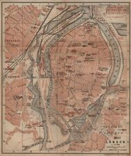 LÜBECK antique town city stadtplan. Schleswig-Holstein karte. BAEDEKER 1910 map