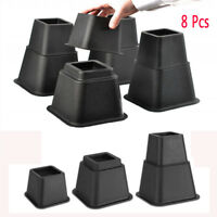 Set of 8 Adjustable Bed Risers or Furniture Riser for Beds Chairs Heavy Duty US
