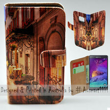 Wallet Phone Case Flip Cover for Samsung Galaxy Note 4 - Alp Street Night Cafe