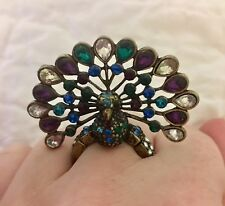 Retro Peacock Stretch Cocktail Ring Rhinestones Metal Purple Green Blue Costume
