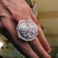 Gems en Vogue Carved Flower Cameo Ring s7,5 M Designer Italy Jewelry NEW