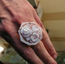s7,5 M Designer Italy Jewelry New Gems en Vogue Carved Flower Cameo Ring