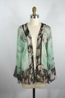 Red Leather -Ette- Sheer Open Kimono Jacket M Green Brown Animal Print