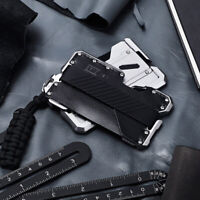 Black EDC Men's Military Tactical Multi Tool CNC Metal Leather Wallet- B Style