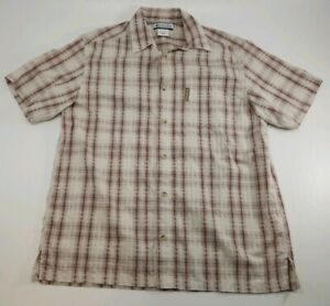 Columbia Brown Western Plaid Short Sleeve Button Down Shirt Men's Size Large