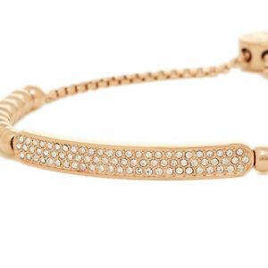 BRAND NEW Michael KORS MKJ5594791 ROSE GOLD TOGGLE CRYSTAL Slide Chain Bracelet
