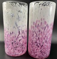 2 Vintage Signed Art Vase Signed Vase Blue White Glass Hand Artisan Blown Lot