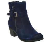 Earth Origins Tori Navy Blue Suede Water Repellent Heel Ankle Boots Women's 6M