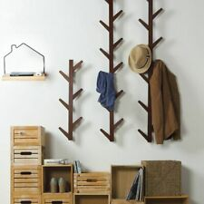 Wooden Bamboo Coat Racks Wall Hanging Clothes Hanger Bedroom Shelf Decoration