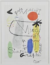 """Figure with Reddish-Orange Sun"" by Joan Miro Signed Lithograph 10""x7 1/2"""