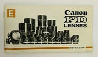 Canon FD Lens Instructions English 43 pages F-1, EF, FTb, TLb