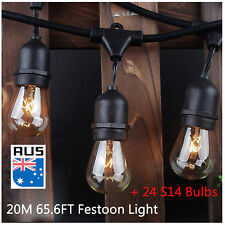 Vintage Festoon String Lights Kit Backyard Patio Party Lighting Weatherproof 20M