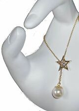 NEW-Delicate Star-Diamond & Japanese Akoya Pearl Necklace 18K gold-Keep Dreaming
