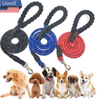 5FT Dog Leash Night Reflective Threaded Pet Training Handle Walking Collar Ropes