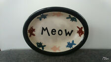 New listing Pet rageous designs! Cat Bowl Oval Fish Graphics Meow Handpainted Stoneware