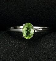 HANDMADE NATURAL PERIDOT OVAL CUT 925 STERLING SILVER RING JEWELRY SIZE US 3-13