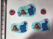 Sesame Street Elmo Cookie Monster sledding fabric iron on appliqués