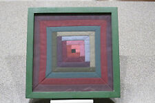 Antique - Vintage Framed Quilt Square Log Cabin Pattern - Optical Illusion Look