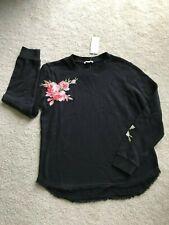 NEW NWT Ella Moss embroidered sweatshirt black 100% cotton S SMALL 4 6 washable