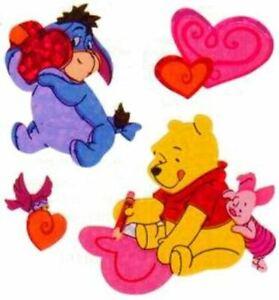 *RARE* GLITTERY WINNIE THE POOH HEARTS VALENTINES DAY Sandylion Stickers - 2 sq