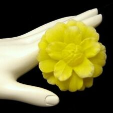 Vintage Large Yellow Flower Brooch Plastic Petals Realistic Delicate Style