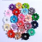 30PCS 4CM Multilayer Mini Satin Silk Ribbon Flower With Acrylic Button
