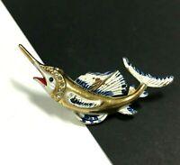 Vintage GOLD PL POT METAL & Enamel Rhinestone SAIL FISH Marlin Brooch Pin EE74e