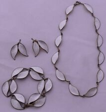 David Anderson Sterling Enamel Leaf Necklace bracelet earring set WILLY WINNÆSS