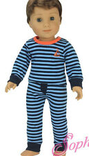 Doll Clothes fits American Girl Striped Knit Pajamas Boy Logan