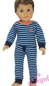 Doll Clothes fits American Girl Striped Knit Pajamas Boy Logan