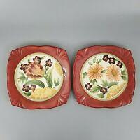 Certified International Square Salad Plates Pamela Gladding Burgundy Red Floral