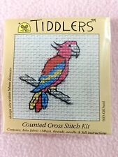 MOUSELOFT TIDDLERS CROSS STITCH KIT ~ RED PARROT ~ NEW ~ 5.5cm x 5.5cm