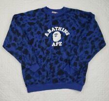 A Bathing Ape Bape Blue Ape Camo Sweatshirt Pullover Crew Neck Size XL