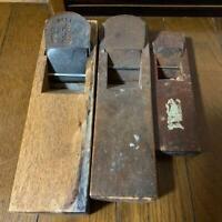 Antique Japanese Hand Plane Kanna Carpenter Tool Signed Woodworking 3pcs D0061