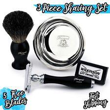 Double Edge Safety Razor Badger Hair Shaving Brush Wilkinson Blades Bowl Set