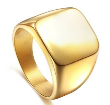Stainless Steel  Euro Design Simply Square Face Polish Gold Plated Ring M2