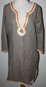 LUCKY BRAND Tunic Dress M Taupe Orange White Hippie Boho Peasant  Festival