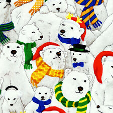 Fat Quarter Christmas Polar Bears Christmas Cotton Quilting Fabric  Fabri Quilt