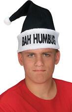 Black BAH HUMBUG Holiday Hat- Black Santa Hat with White Trim